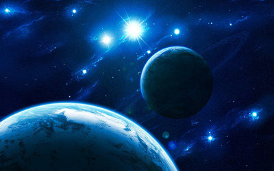 Blue light in space wallpaper