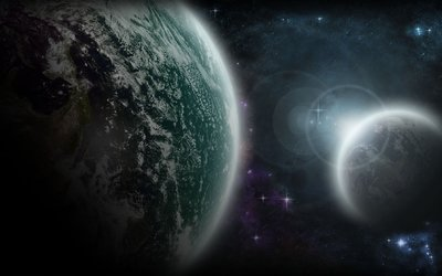 Bright light behind the planet [2] wallpaper