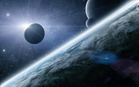 Bright light behind the planet wallpaper 2560x1600 jpg