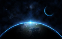 Bright sun behind the blue planet wallpaper 1920x1200 jpg