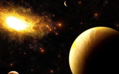 Golden explosion in the dark space Wallpaper
