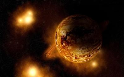 Golden planets wallpaper