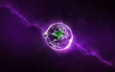 Green continent on apurple planet wallpaper
