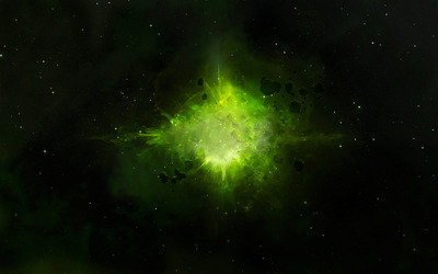 Green explosion in space wallpaper