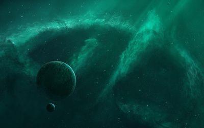 Green nebula surrounding the planet wallpaper