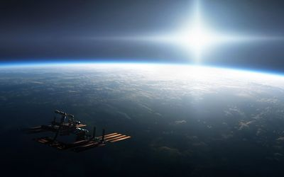 International Space Station orbiting Earth wallpaper