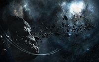 Large asteroid surrounded by smaller ones wallpaper 1920x1200 jpg