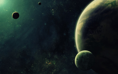 Light shining upon the planets Wallpaper