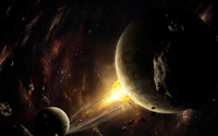 Meteors circling the planet wallpaper 2560x1600 jpg