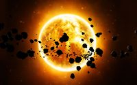 Meteors flying around the sun wallpaper 1920x1080 jpg