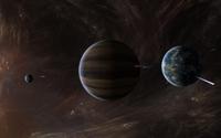Nebula surrounding the planets wallpaper 2560x1600 jpg