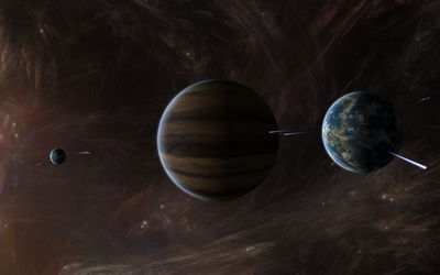 Nebula surrounding the planets wallpaper