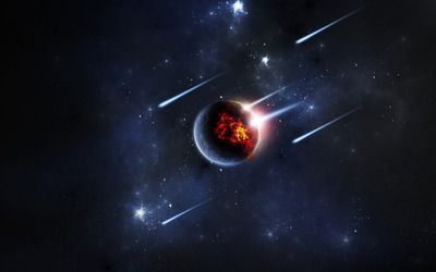 Planet hit by asteroids wallpaper