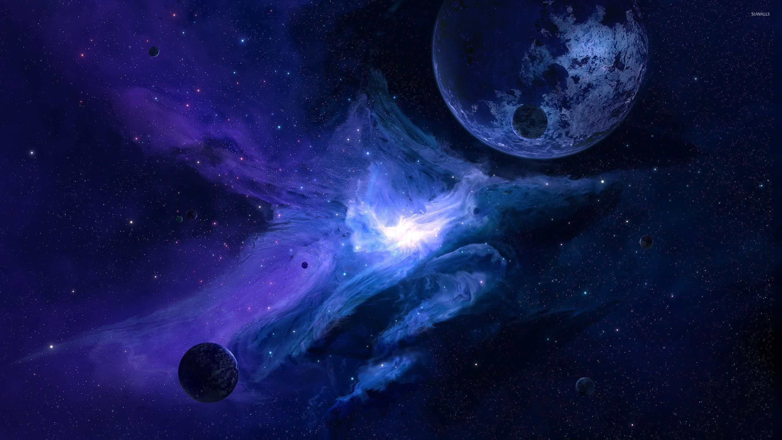planet in the blue galaxy wallpaper space wallpapers