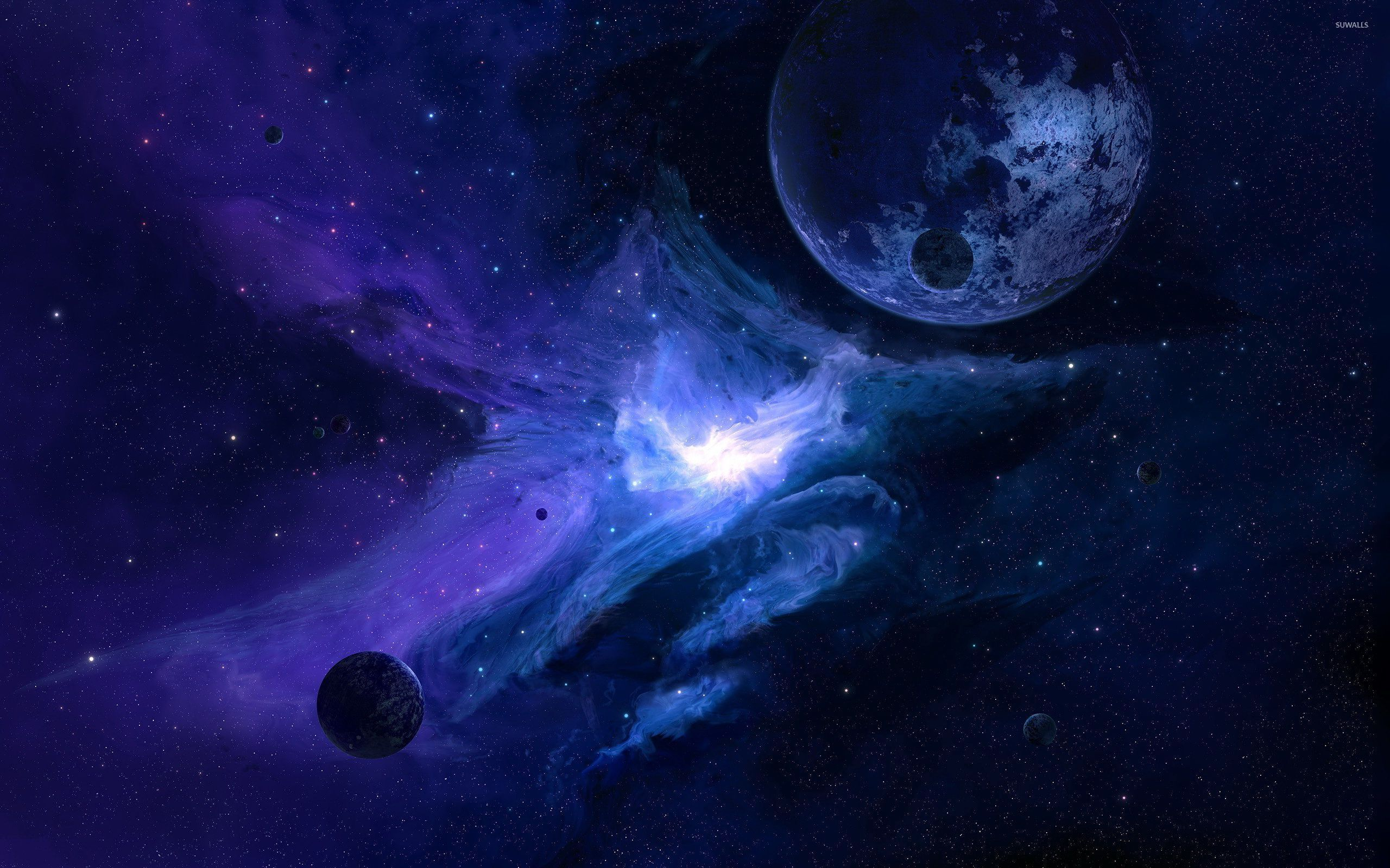 Planet in the blue galaxy wallpaper space wallpapers 52876 - Galaxy and planets ...