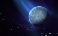 Planet surrounded by asteroids wallpaper 1920x1080 jpg