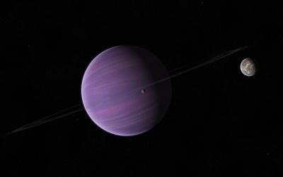 Planetary ring orbiting the purple planet wallpaper
