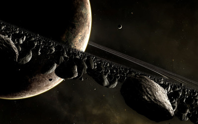 Planets and asteroids wallpaper