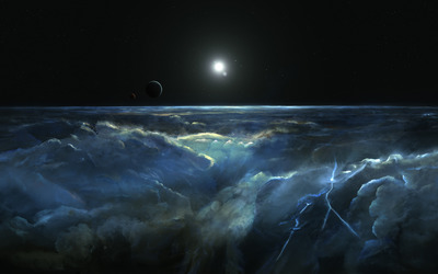 Planets by the storm clouds wallpaper