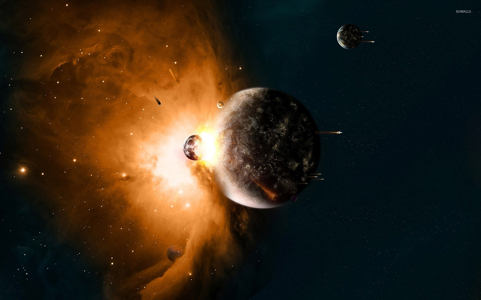 planets collide wallpaper - space wallpapers