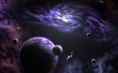 Planets in the purple universe wallpaper