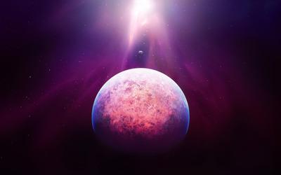 Purple light above the planet wallpaper
