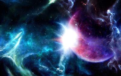 Purple planet in the nebula wallpaper