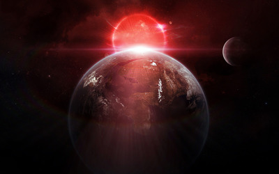 Red light behind the planet wallpaper