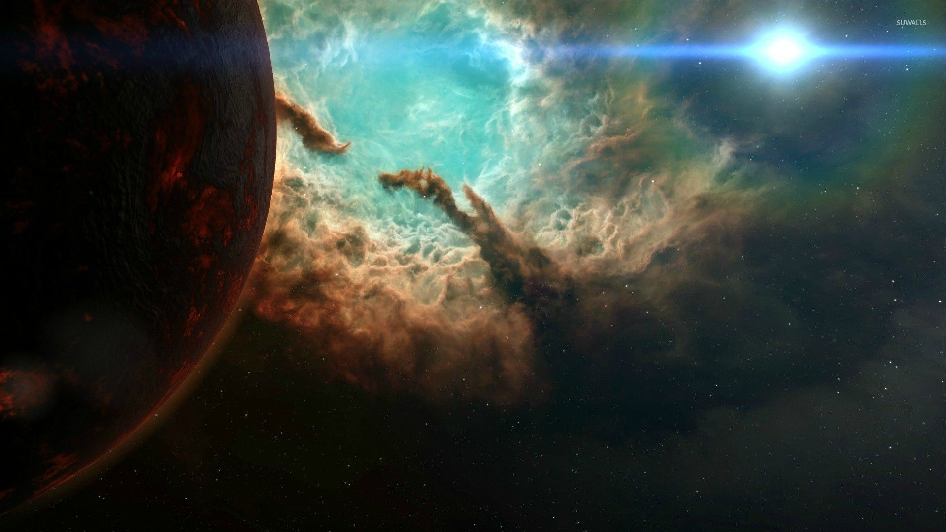 Red planet by the amazing nebula wallpaper - Space ...