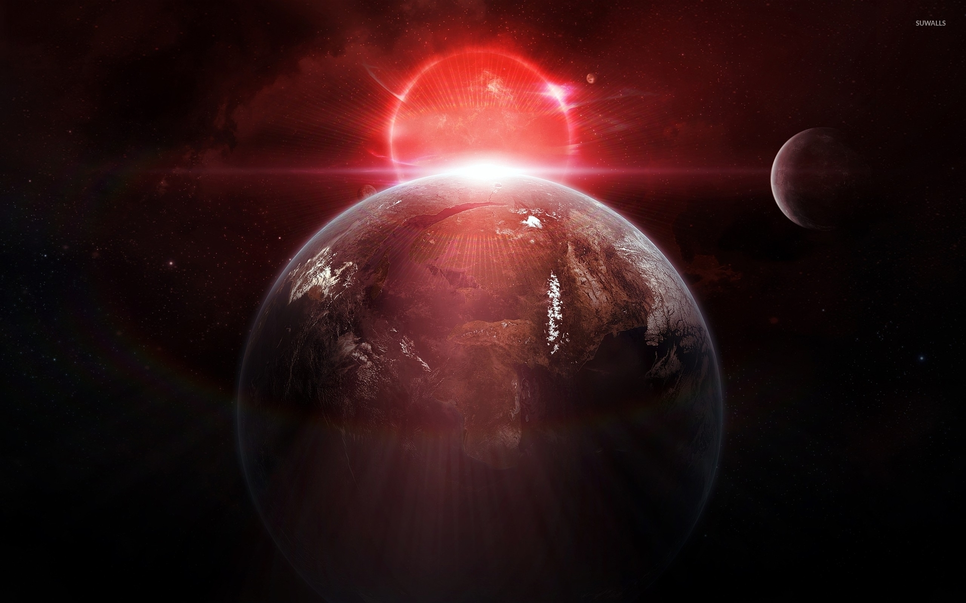 red sun behind the planet wallpaper space wallpapers