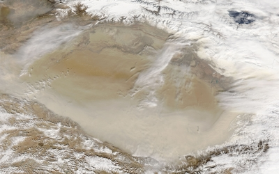 Sandstorm in Taklamakan Desert wallpaper