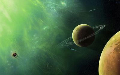 Spaceship through planets wallpaper