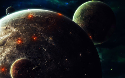 Spaceships attacking the planet wallpaper