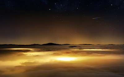 Starry sky above the golden clouds wallpaper