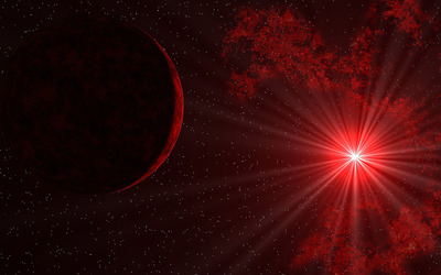 Sunlight through red space wallpaper