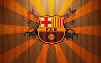 FC Barcelona on wooden background wallpaper 1920x1080 jpg