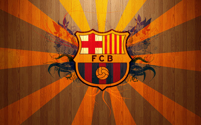 FC Barcelona on wooden background wallpaper