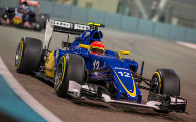 Felipe Nasr in a Sauber C34 during a race wallpaper