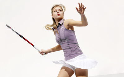 Maria Kirilenko with a tennis racquet wallpaper