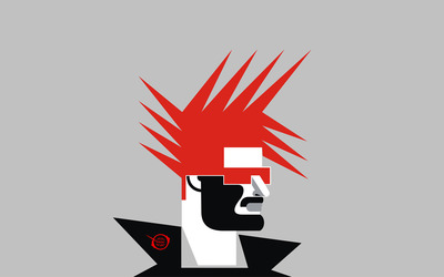 Man with red punk hairstyle wallpaper