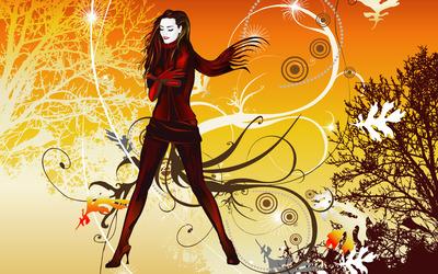 Autumn girl wallpaper