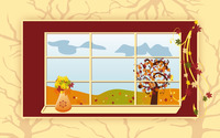 Autumn scenery through the window wallpaper 2880x1800 jpg