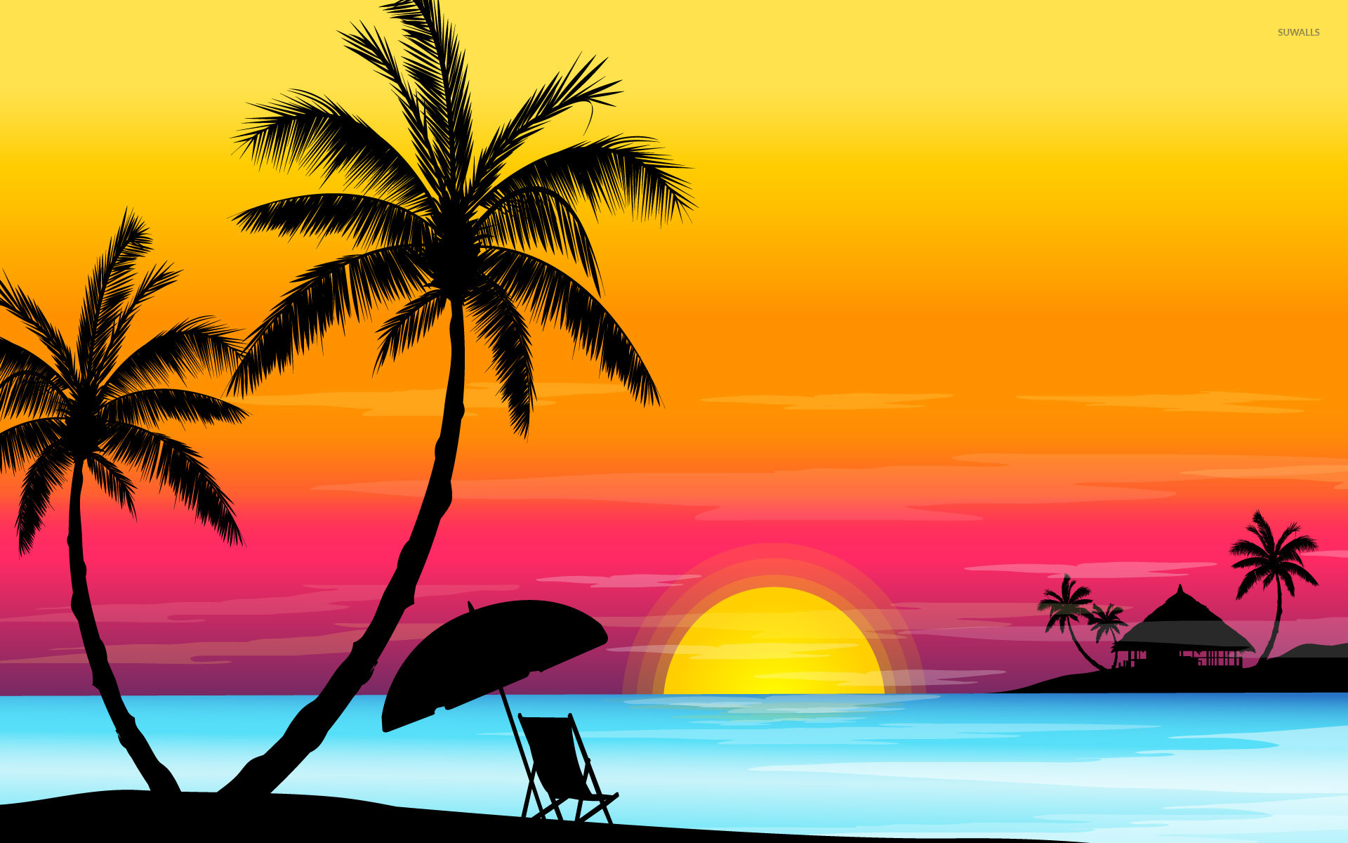 Beach Sunset Wallpaper Vector Wallpapers 2734