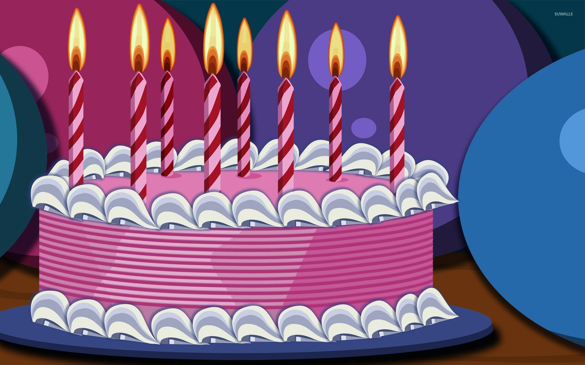 Birthday Cakes With Candles And Flowers wallpaper.