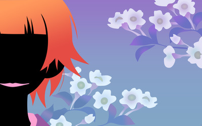 Blossoms and girl silhouette wallpaper