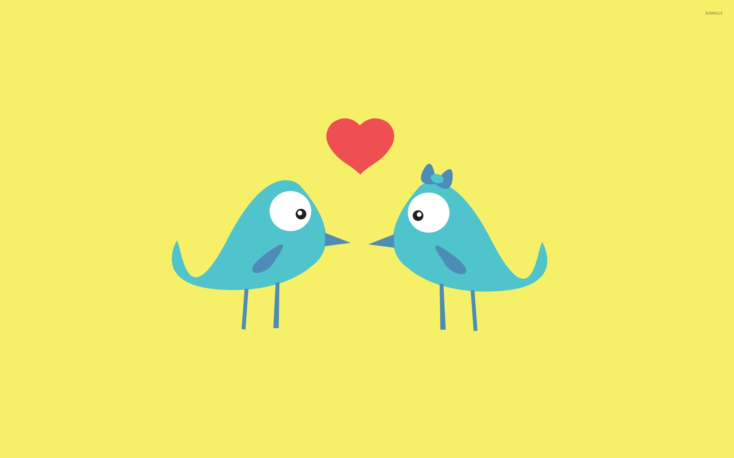 Love Wallpapers Vector : Blue bird love wallpaper - Vector wallpapers - #43152