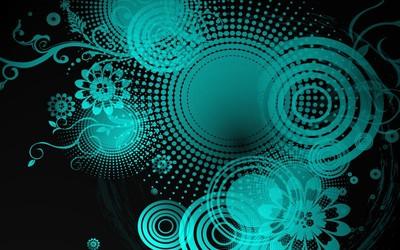 Blue daisies and circles wallpaper
