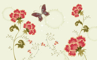 Butterfly hovering over carnations wallpaper 1920x1200 jpg