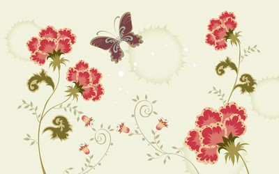 Butterfly hovering over carnations wallpaper
