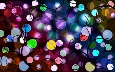 Colorful circles and swirls wallpaper